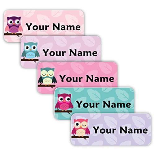 Original Personalized Peel and Stick Waterproof Custom Name Tag Labels for Adults, Kids, Toddlers, and Babies - Use for Office, School, or Daycare (Owls Theme)