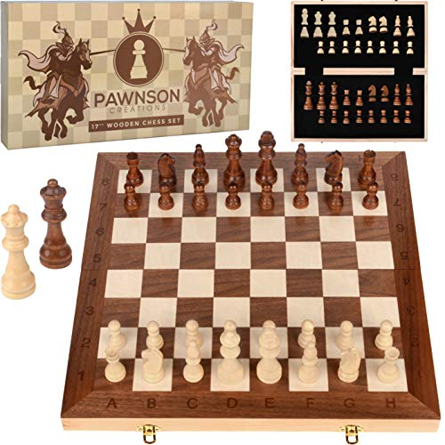 Wooden Chess Set for Kids and Adults - 17 in Staunton Chess Set - Large Folding Chess Board Game Sets - Storage for Pieces | Wood Pawns - Unique E-Book for Beginner - 2 Extra Queens