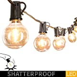 50Ft. LED G40 Outdoor Patio String Lights with 50 Shatterproof LED Clear Globe Bulbs, Warm White Ambience Indoor & Outdoor Lights for Patio Garden Backyard Bistro Pergola Tents Gazebo Decor,Black Wire
