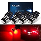 AUTOGINE 4 X Super Bright 9-30V 3157 3156 3057 3056 4157 LED Bulbs 3014 54-EX Chipsets with Projector for Tail Lights Brake Lights Turn Signal Lights, Brilliant Red