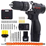 Cordless Drill with 2 Batteries - GOXAWEE Electric Screw Driver Set 100pcs with Hammer Function (30Nm, 18+3 Torque Setting, 2-Speed) for Home & DIY Project Drilling Walls, Bricks, Wood, Metal