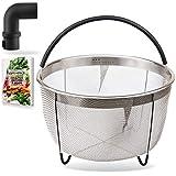 Cuisinedge Steamer Basket for Instant Pot Accessories 6 quart - Stainless Steel Insert Strainer for Instapot 6 qt, 8 qt Pressure Cooker w/Silicone Handle - BONUS Steam Release Diverter, eBook