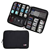 BUBM Travel Cable Organizer, Universal Electronics Accessories Storage Bag for Cord, Earphone, USB Flash Drive, Memory Card and More, Lightweight and Compact,Black