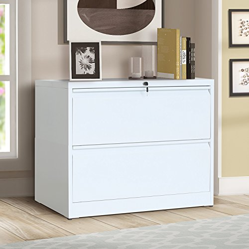 ModernLuxe Heavy-Duty Lateral File Cabinet (White-X, 2-Drawers:35.4W17.7D28.4H)
