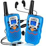 Bobela  Walkie-Talkies with Earpiece and Mic, FRS GMRS Walky-Talky 3-Mile Range 22-Channels Built-in Flashlight Belt Clip Button Lock LCD Display (2 Pack Blue VT8)