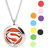 Super Man Stainless Steel Premium Aromatherapy Essential Oil Diffuser Locket Necklace Pendant