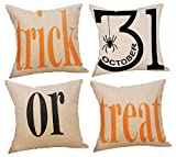 LafyKoly Happy Halloween Pumpkin Decoration Christmas Cotton Blend Cushion Cover Set of 4 Fall Decor Thanksgiving Throw Pillow Covers 18x18 inch (Letter)