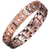 VITEROU Mens Original 99.95% Pure Copper Magnetic Therapy Bracelet with Strong Healing Magnets for Arthritis Pain Relief,3500 Gauss,8.5-9.8 Inches