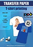 PPD Inkjet Iron-On White and Light Color T Shirt Transfers Paper LTR 8.5x11' pack of 10 Sheets (PPD001-10)
