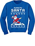 Tstars Kung Fu Santa Ugly Christmas Sweater Funny Youth Kids Sweatshirt Small Blue