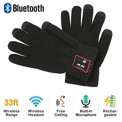 Phone Bluetooth Gloves, Men and Women Black Wireless Smart Gloves with Built In Microphone for Call Talking, Music, Touchscreen Gloves for Outdoor Sports, Skiing,Running, Skating, Walking Knit Gloves