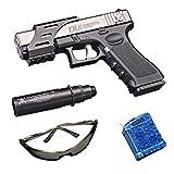 Water Beads-Ball Water Gun Series Manual Glock Toy Gel Ball Gun Blaster Pistol- Ammo - Targets - for Kids and Adults(Silver)