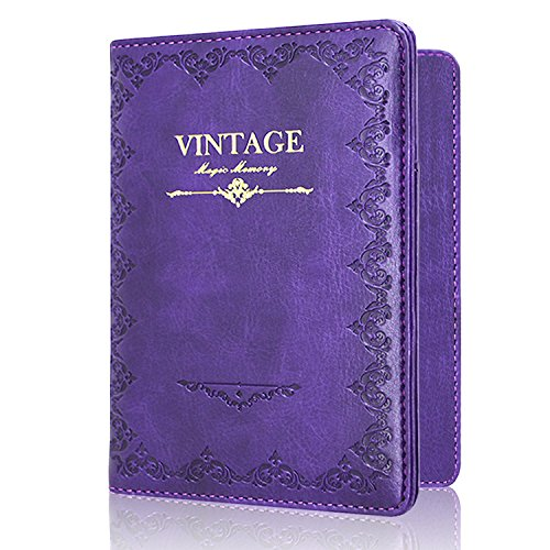Passport Holder Case, ACdream Protective Premium PU Leather RFID Blocking Wallet Case for Passport, (Vintage-Purple)