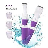 Bikini Trimmer for Women Electric Hair Shaver 2 IN 1 Cordless Ladies Shaver Foil Razor Female Hair Removal Groomer, Waterproof Wet & Dry for Face Armpit Legs Bikini Line (Purple)