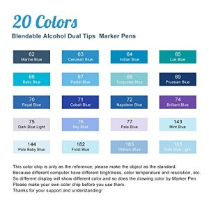 Artist Arrtx Marker Pens 20 Colors Blendable Alcohol Markers Art Drawing Pens for Ocean Sky Fashion and Clothes Design