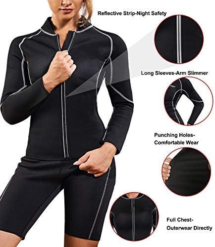 Nebility Women Waist Trainer Jacket Hot Sweat Shirt Weight Loss Sauna Suit Workout Body Shaper Neoprene Top Long Sleeve 2
