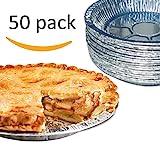 Premium 9' Aluminum Foil Pie Pans. Disposable Tin Plates for Pies Tart Quiche. (Pack of 50)