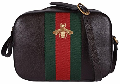 """51R3EtDokXL Brown Leather, Red and Green Web Stripe, Golden Bee Accent Designed for Gucci by Alessandro Michele, Top Zip Close, Adjustable Crossbody Strap with a 20"""" Drop, Linen Lining, Interior Slip Pockets, Measures a Small 9"""" x 6"""" x 2.5"""", Interior Gucci Serial Number, Gucci Care Booklet,"""