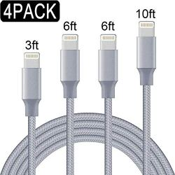 Aitaton Phone Charger,4 Pack Phone Cable (3FT 6FT 6FT 10FT) USB Syncing and Charging Cable Data Nylon Braided Cord Charger Compatible PhoneX/8/8 Plus/7/7 Plus/6/6 Plus/6s/6s Plus and More (Gray)