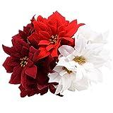 Elegant 5-Stem Velvety Poinsettia Bushes, 15 in. Set of 3