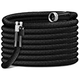 HooSeen Expandable Garden Hose - 100FT Kink-Free Flexible Water Hose with 3/4' Anti-Rust Solid Brass Fittings, Double Latex Core and Shut Off Value Black