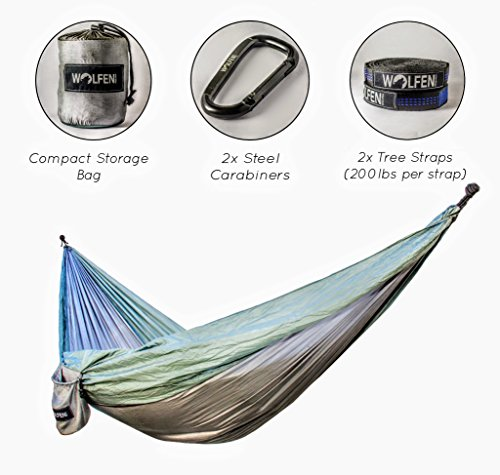 single Hammock With Tree Straps : camping hammock parachute hammock ripstop 400lbs by Wolfen Research