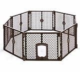 North States MyPet 34 Sq. Ft. Petyard Passage: 8-panel pet enclosure with lockable pet door. Freestanding, 7 sq. ft - 34 sq. ft. (26' tall, Brown)