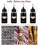 Indian Henna Tattoo Kit, Brown Henna Cones Paste, Henna Temporary Tattoo Ink/paste 2oz, Body Art Painting for Women Men
