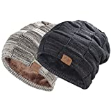 REDESS Beanie Hat for Men and Women Winter Warm Hats Knit Slouchy Thick Skull Cap(2 Packs Black&Brown)