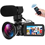 YEMIUGO Digital Camcorders Full HD 1080P 30FPS 24MP Video Camera 16X Digital Zoom IR Night Vision Digital Camcorder with External Microphone and Wide Angle Lens