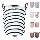 DOKEHOM DKA0814BL2 17.7' Large Laundry Basket (9 Colors), Drawstring Waterproof Round Cotton Linen Collapsible Storage Basket (Blue Strips, M)