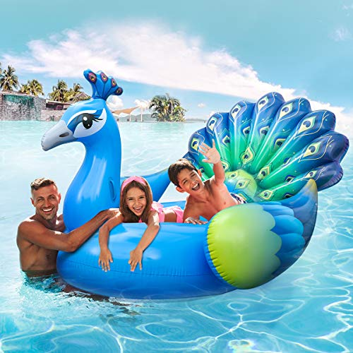 iBaseToy Giant Inflatable Peacock Pool Float