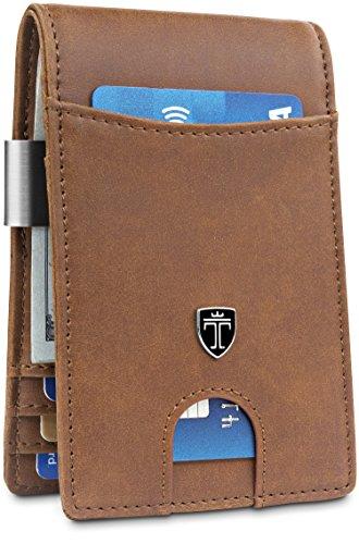 TRAVANDO Money Clip Wallet'RIO' Mens Wallet Front Pocket Wallet Slim Wallet RFID Blocking | Credit Card Holder | Minimalist Mini Bifold Gifts for Men (Carbon)