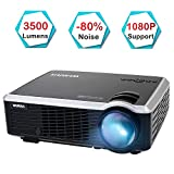 Projector, WiMiUS 3500 Lumens Video Projector Support 200' Display Full HD 1080P 50,000 Hours LED Video Projector, Compatible with TV Stick, HDMI, VGA, USB, PS3, Smartphones for Home Theater