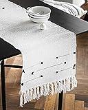 Moroccan Fringe Table Runner 14 X 72 in, KIMODE Bohemian Geometric Cotton Woven Tufted Tassels Macrame Farmhouse Dinning Table Linen Machine Washable Minimalist Home Decorative