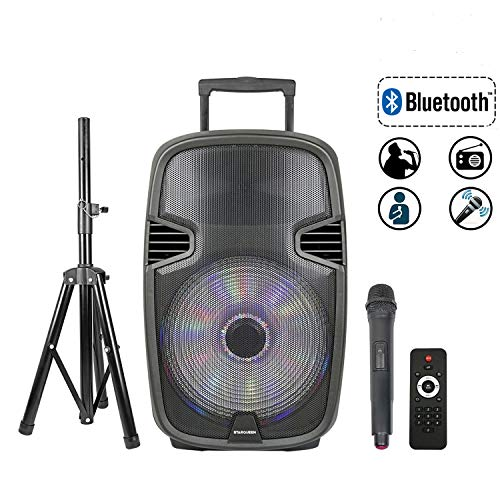 STARQUEEN 15' Portable Bluetooth Speaker, Outdoor Rechargeable PA System with Wireless Microphone/Remote/Wheels/DJ Lights/Stand, Big Karaoke Party Amplifier Sound System with AUX/FM Radio/SD/USB
