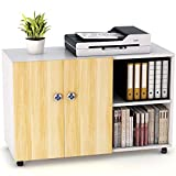 LITTLE TREE File Cabinet, 39' Filing Cabinet Office Printer Stand with Shelves Storage and Doors for Home Office,Walnut