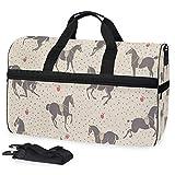 Dressage Horse Polka Dot Gym Bags for Men&Women Duffel Bag Weekender Bag with Shoe Compartment