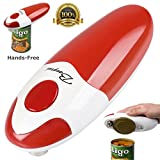 BangRui Smooth Soft Edge Electric Can Opener with One-Button Start and One-Button Manual Stop (Red)