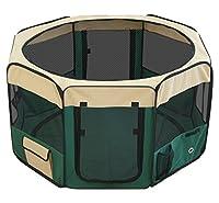 ottostyle.jp 折りたたみ八角形ペットサークル Mサイズ グリーン (約)90cm×62cm 【折りたたみ簡単!急な来客時やアウトドアに】