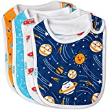 Baby Bibs Large Burpy Cloth 4 Pack Gift Set Soft Absorbent Feeding Reflux Drool Teething Bibs, Adjustable Snap Buttons, Funny Designs for Boys & Girls (Space)