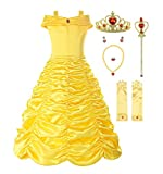 ReliBeauty Little Girls Layered Princess Belle Costume Dress up with Accessories, Yellow, 3T/110