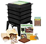 Worm Factory 360 Worm Composting Bin + Bonus What Can Red Wigglers Eat? Infographic Refrigerator Magnet (Black) - Vermicomposting Container System - Live Worm Farm Starter Kit for Kids & Adults