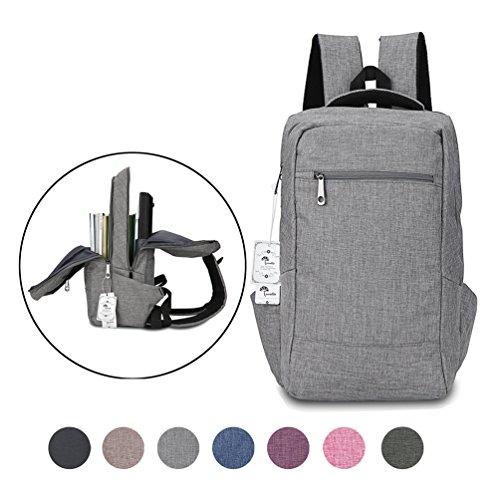 Laptop Backpack, Winblo 15 15.6 Inch College Backpacks Lightweight Travel Daypack - Grey