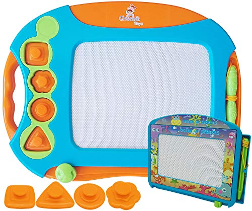 CHUCHIK Toys Best Magnetic Drawing Board for Kids and Toddlers. Large 15.7' Magna Doodle Writing pad Comes with a 4-Color Travel Size magnadoodle Sketch Board.