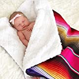 Del Mex Baja Baby Mexican Serape Baby Toddler Blanket paired with Soft Sherpa (Pink)
