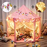 Twinkle Star 55'x 53' Princess Castle Play Tent for Girls Playhouse with 138 LED Star String Lights and Banners Decor, Kids Game House for Indoor Outdoor Game(Pink)