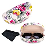 Extra Large Sunglasses Case Hard Shell Light Weight with, Flower, Size Large