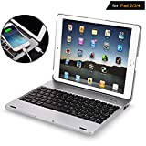 iPad 2 3 4 Keyboard Case - iPad 2 3 4 Case with Wireless/BT Keyboard - iPad 2 3 4 Case with Powerbank[2800mAh] - iPad Keyboard 2nd 3rd 4th Generation Case - Hard Clamshell Protective Cover - Silver