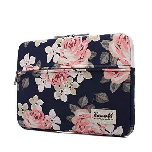 Canvaslife White Rose Patten Laptop Sleeve 14 inch 14.0 inch Laptop case Bag
